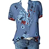 Meikosks Womens Plus Size Short Sleeve Blouses Floral Printing Pocket Tops Easy T Shirt Blue