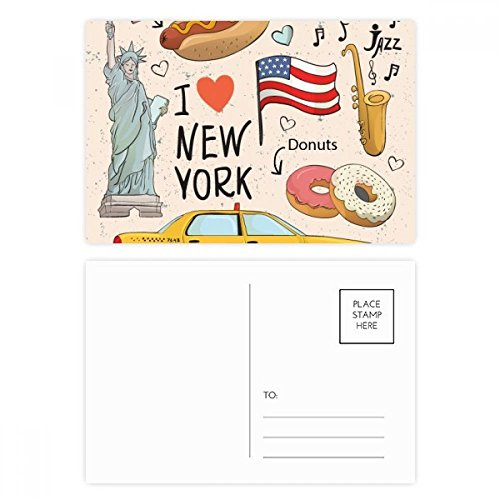 "comparateur DIYthinker I Love New York Birthday Card Set Hot Dog Donut USA Texi Merci Party Postcard 20 Feuilles 5.7 ""x3.8"" Multicolore 5.7 ""x3.8"" Multicolore"