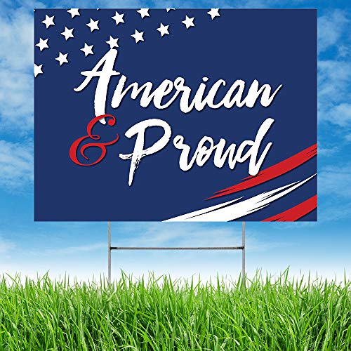 Note Card Café Patriotic Yard Sign | Big Outdoor Summer Lawn Party Decoration | Stakes Included | American & Proud