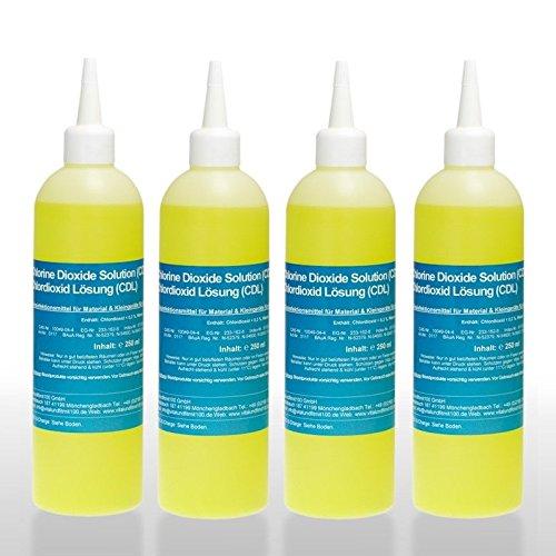 Chlordioxid Lösung 0,3% - CDS/CDL - Sparpaket 3+1 gratis - 4 Flaschen CDS CDL à 250 ml - Chlordioxidlösung nach Originalrezeptur - MADE IN GERMANY - Zum Sonderpreis!