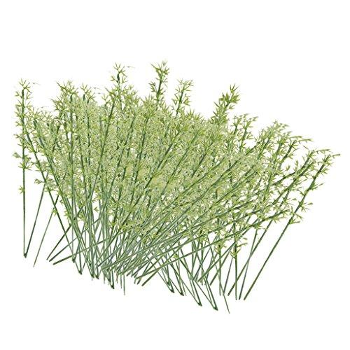 sharprepublic 100pz Alberi Miniature Modello Gardino Piante bambù Plastica Verde Scala 1:75