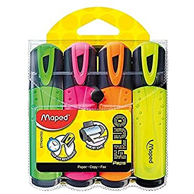 Maped Fluo Peps Classic Highlighters, Assorted Colors, Pack of 4 (742547)