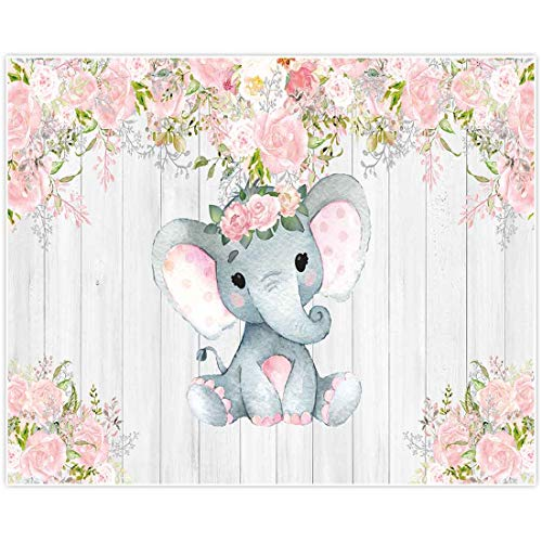 Allenjoy 10x8ft Rustic Floral Elephant Backdrop for Baby Shower Party Pink Flower Wood It's a Girl Banner Birthday Photography Background Cake Table Decoration Photo Booth Studio Props Favors Supplies