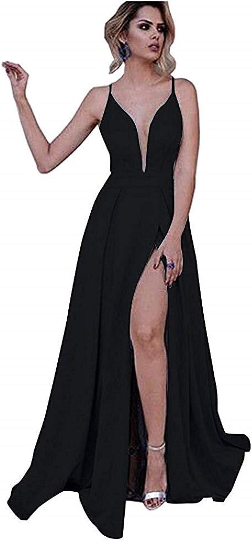 YuNuo Long Prom Dress ALine Light bluee Spaghetti Straps Deep VNeck Side Slit Dress for Women