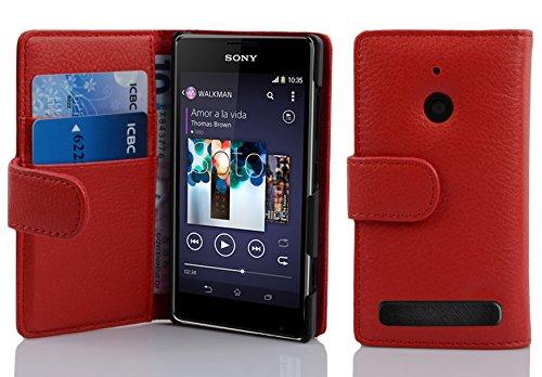 Cadorabo Hülle für Sony Xperia E1 in Inferno ROT – Handyhülle aus Strukturiertem Kunstleder mit Standfunktion & Kartenfach – Hülle Cover Schutzhülle Etui Tasche Book Klapp Style