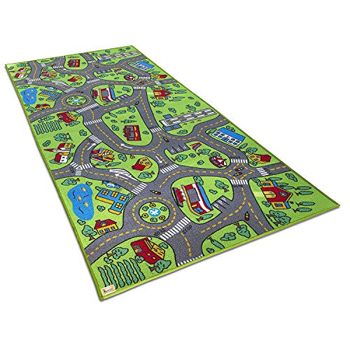 Kurtzy Kids Rug Play Crawl Floor mat Children's Educational, Map, Road Traffic System, Multi Colour Baby/Toddler Activity for Playing with Toy, car, Trucks - 146 cm X 82 cm