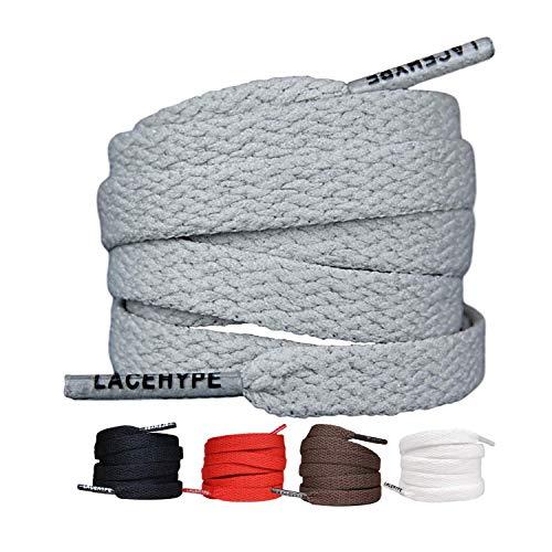 LaceHype 2 Paar - Schnürsenkel Flach Reißfest [8 mm breit ] für Sneakers, Sportschuhe, Laufschuhe, Schuhe Schuhbänder Bänder Ersatz Shoelaces aus Polyester (180, Grau)