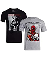 Marvel Deadpool Men's Graphic Short Sleeve Cotton T-Shirt (2 Pack), Deadpool Black/Grey, Size Large
