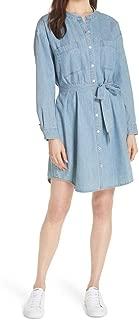 EILEEN FISHER Women's Organic Cotton Drapey Denim Belted Shirt Dress