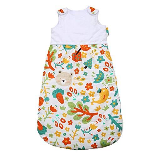 NFSQYDT Baby draagbare deken 100% biologisch katoen lente en zomer ademend anti kick mouwloze overgang kinderen slaapzak voor 0-2 jaar oude vogels en bloemen-0 tot 1 jaar oud