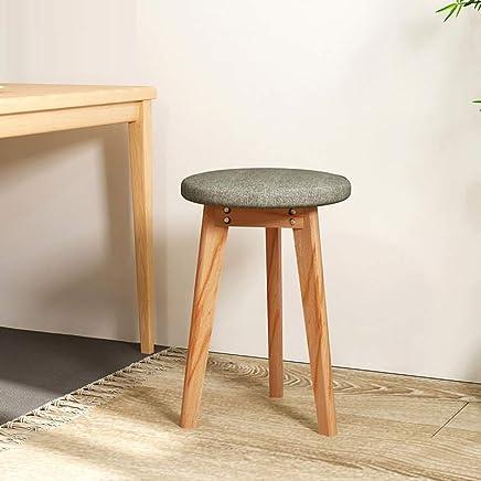 实木凳家用化妆凳小凳子创意小板凳现代简约矮凳方凳电脑椅圆凳实木小椅子 (浅灰+原木色(圆凳))