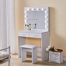 TUKAILAI Witte kaptafel Set met verstelbare 3 kleuren LED-verlichting, spiegel, 2 grote laden en kruk ijdelheid make-up ta...