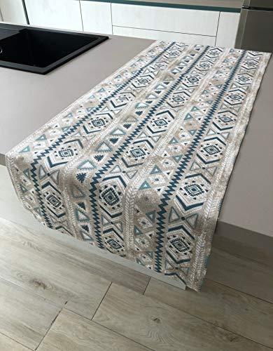1KDreams tafelkleed met geometrische patronen van Maya-inspiratie, modern en elegant, met lenteffect.