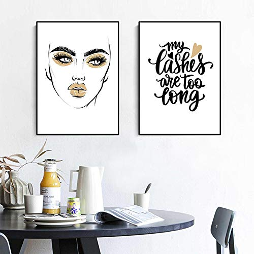 KELEQI Chica Pestaña Pintura artística Dorada Taza de café Cita Imagen Maquillaje Impresión y póster para Dormitorio de niña Decoración para el hogar 23,6'x 31,4' (60x80cm) X2 Sin Marco