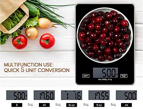 Inroserm Digitale Küchenwaage, 5 kg elektronische Waage zum Backen von Speisen, Smart Touch Control, klares LCD, gehärtete Glasscheibe, mehrere Einheiten, Tara-Funktion (Schwarz)