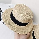 B/H Playa Sombrero Gorra de Sol de ala Ancha Señora Trenzado,Sombrero de Paja Transpirable Natural, fácil de Usar Tipo Gorra Plana,Paja Sombrero Empacables Mujeres Verano Moda Suave