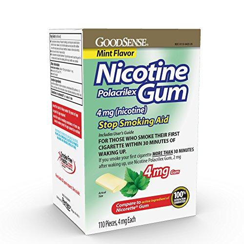 GoodSense Nicotine Polacrilex Uncoated Gum 4 mg (nicotine), Mint Flavor, Stop Smoking Aid; quit smoking with nicotine gum, 110 Count