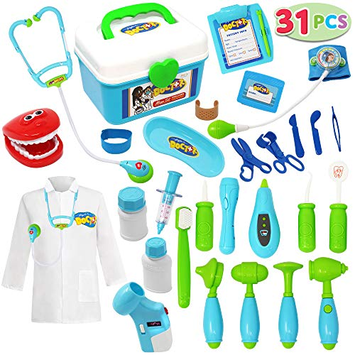 JOYIN Toy Doctor Kit,31 Pieces Pretend Play Toys Dentist Medical Kit with Electronic Stethoscope, Educational Doctor Toy and Doctor Role Play Costume Dress-Up,Doctor Playset for Kids Ages 3-6