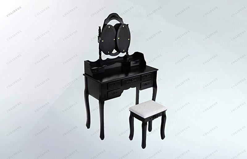 COLIBROX Black Tri Folding Oval Mirror Wood Vanity Makeup Table Our Black Vanity Makeup Table And Stool Set Which Has A Beautiful And Traditional Style Is A Perfect Choice For Any Bedroom