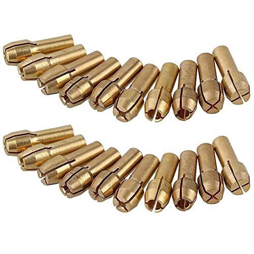 30 Stück Messing-Spannzangen 4,8 mm/4,3 mm - Schaft für Dremel / Drehwerkzeuge 0,5 mm, 0,8 mm, 1,0 mm, 1,2 mm, 1,5 mm, 1,8 mm, 2,0 mm, 2,4 mm, 3,0 mm, 3,2 mm Bohrer-Kontermutter
