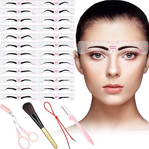 29 Pieces Eyebrow Stencils Shaper Set Includes 24 Pieces Reusable Eyebrow Template with Strap Eyebrow Razor Trimmer Scissors, Makeup Brush and Storage Box for A Variety of Face Trimming Shaping Eyebrows
