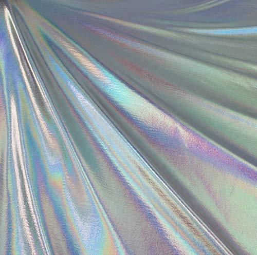 FabricLA Metallic Foil Lame Spandex Knit Fabric (Silver Iridescent Hologram, 1 Yard)