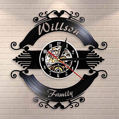 Reloj de pared con diseño de nombre de familia personalizado para decoración familiar personalizada con tu nombre, boda, matrimonio, vinilo, regalo de inauguración de la casa