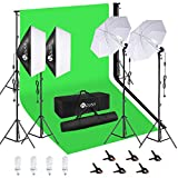 HPUSN Softbox Continuous Lighting Kit Professional Studio Photography with Max 8.5ft x 10ft Background Support System,2 Reflectors 20x28 Inch,E27 85W 5500K Umbrellas for Portrait and Other Photography