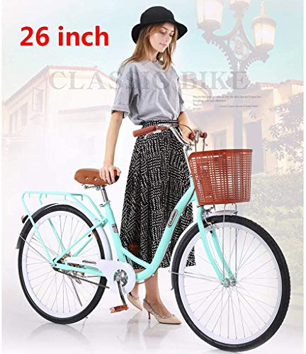 【US Stock】 Womens Beach Cruiser Bike-26 Inch Unisex Classic Iron Bicycle with Basket Retro Bicycle Unique Art Deco Scooter,Road Bike,Seaside Travel Bicycle,Single Speed (Blue)