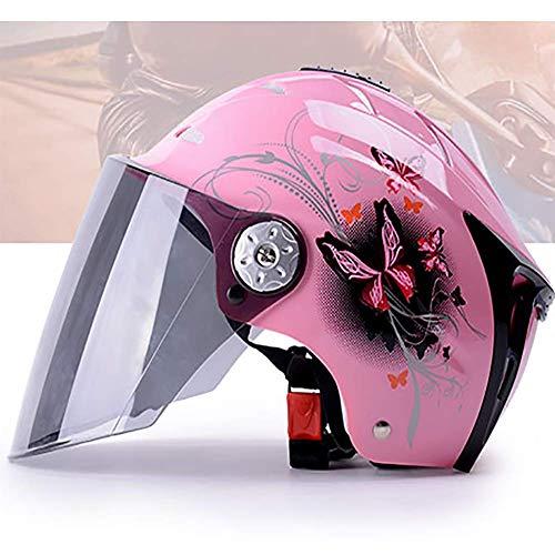 LALEO Schmetterling Muster Einstellbar Offenes Motorradhelm, Jet-Helm mit Visier, Roller-Helm, Damen und Herren ECE Genehmigt, Pink, Rot, Blau (54-61cm),Pink