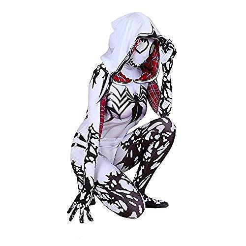 PIAOL Gwen Hooded Kostüm Cosplay Weibliche Strumpfhosen Halloween Kostüm Ball Film Kleidung,White-XL