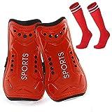 Homo Trends - Espinilleras de fútbol, 3 tamaños, calcetines de fútbol, espinilleras para niños, calcetines de fútbol para niños y niñas, equipo de protección para piernas (rojo)