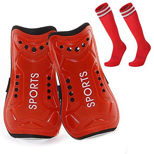 Homo Trends Espinilleras de fútbol, 3 tamaños, espinilleras, espinilleras para niños, calcetines de fútbol para niños y niñas, equipo de protección para pantorrillas (rojo)