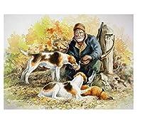 300ピース木製ジグソーパズル老人は犬に餌をやる大人子供のゲームおもちゃのストレスリリーフパズル