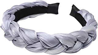 VOWUA Headbands for Women Simple Pure Color Hairband Bow Tie Velvet Wide-Brimm Stretchy Hair Band 1PC