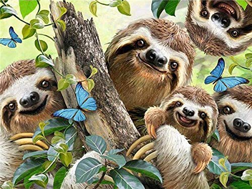 neivy Forest Animal Sloth 5d Diamond Painting Kits Full Drill DIY Diamond Art Embroidery for Home Wall Decal (Full Square 50x60cm)