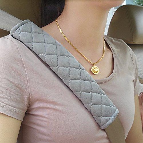 Premium Gurtpolster im Zweierpack, Polsterung für Sitzgurt im Auto für mehr Komfort auf der Reise(Grau)