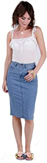 wash clothing company Mid-Length Denim Skirt Palewash Blue Denim Pencil Skirt with Stretch
