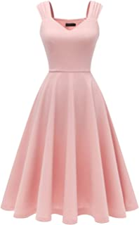 Women's Bridesmaid Vintage Tea Dress V-Neck Prom Party Swing Cocktail Dress