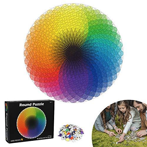 Puzzle Redondo, 1000 Piezas Redondo, Puzzle Rompecabezas, Puzzle Adultos, Puzzle Creativo, Puzzle Circular, Juguete Educativo Intelectual Desafío Intelectual Juegos para Adultos Niños (Arco Iris)