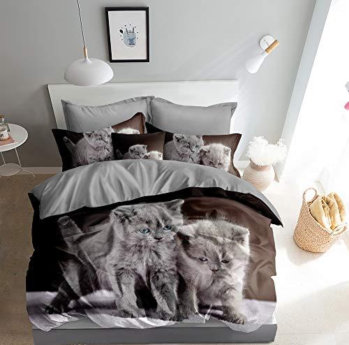 3D Bettwäsche Graue Katzen Bettbezug-Set Katze 135x200 + Kissenbezug 80x80 cm Kätzchen Wendebettwäsche 2 Teilig Grau Braun mit Reißveschluss