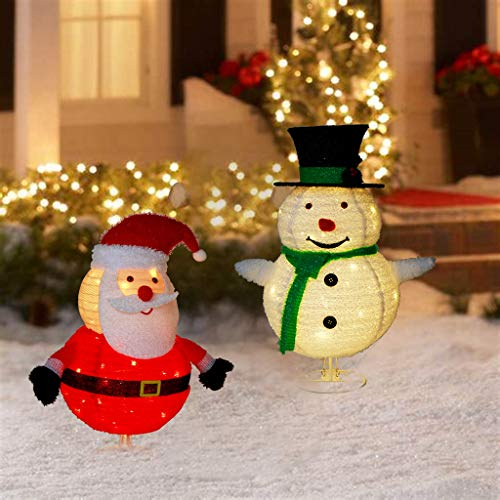 EAMBRITE Set of 2 30-Inch 100L LED Collapsible Snowman and Santa Claus Lighted Holiday Display for Christmas Seasonal Decor Indoor Outdoor Xmas Yard Decoration