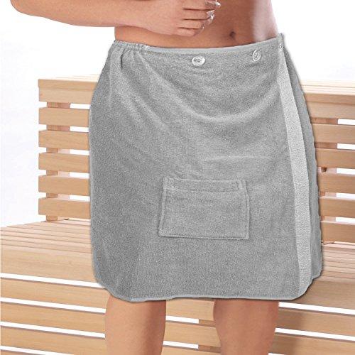 Mojawo Terry Handdoek voor heren Sauna Kilt Sauna Handdoek met Voorvak Katoen Grijs