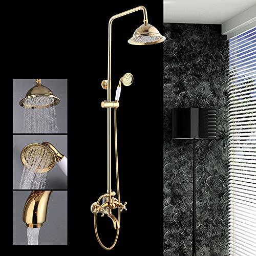 Juego de grifo de ducha, grifo de baño dorado, montaje en pared,...
