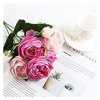 造花 1バンドルシルクバラの花の家の装飾アクセサリー結婚式のパーティースクラップブックの偽の植物の植物Diy Pompons人工牡丹ブーケ (Color : Light rose)
