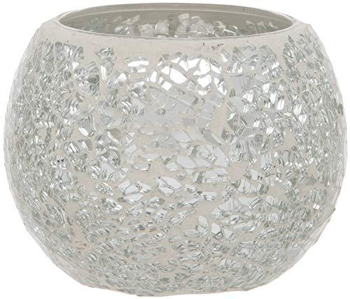 Maturi Teelichthalter aus zerbrochenem Glas mit Mosaik, Silber, 8 x 7.5cm