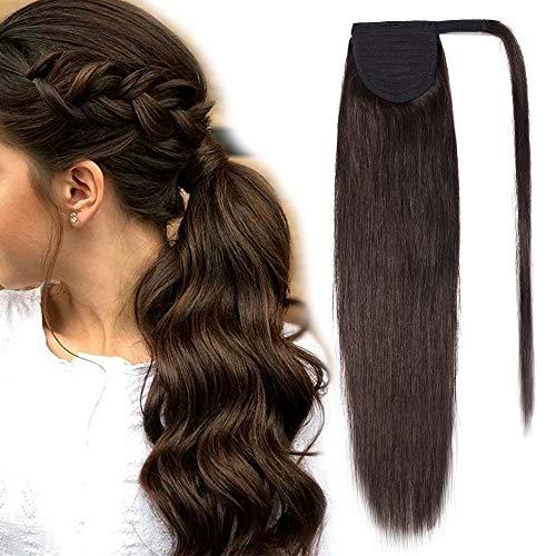 Elailite Extension Capelli Veri Coda di Cavallo 45cm Clip Ponytail Fascia Unica Remy Human Hair Lisci Umani Naturali #2 Marrone Scuro