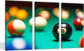 Visual Art Decor Large Playing Pool Table Billiard Balls Giclee Prints Canvas Wall Art Gallery Wrap Snooker Picture for Garm Room Bar Wall Decoration (16