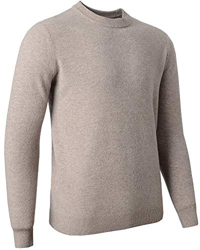 Zhili Men's Classic Solid Color Cewneck 100% Merino Wool Sweater(5 Colors)_Camel_XX-Large