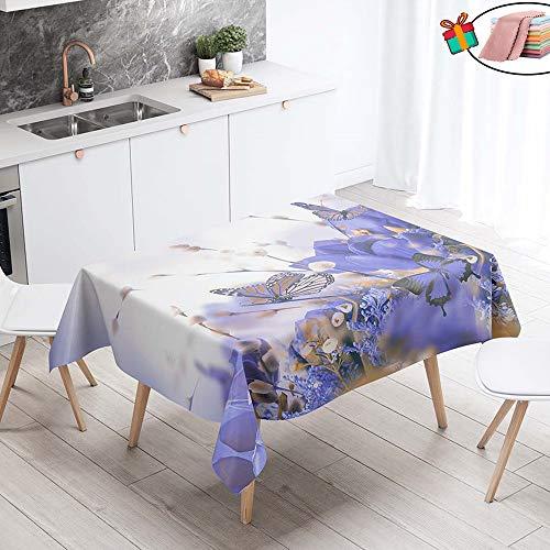 Morbuy Nappe Anti Tache Rectangulaire, Imperméable Étanche à l'huile 3D Imprimé Carrée Couverture de Table Lavable pour Ménage Cuisine Jardin Picnic Exterieur (Violet Papillon,140x200cm)